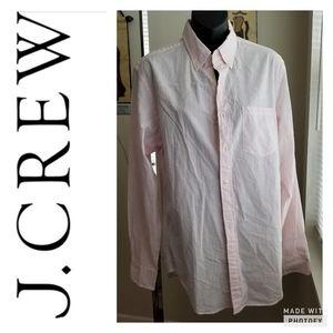 J.crew white/pink 100% Cotton quality woven shirt